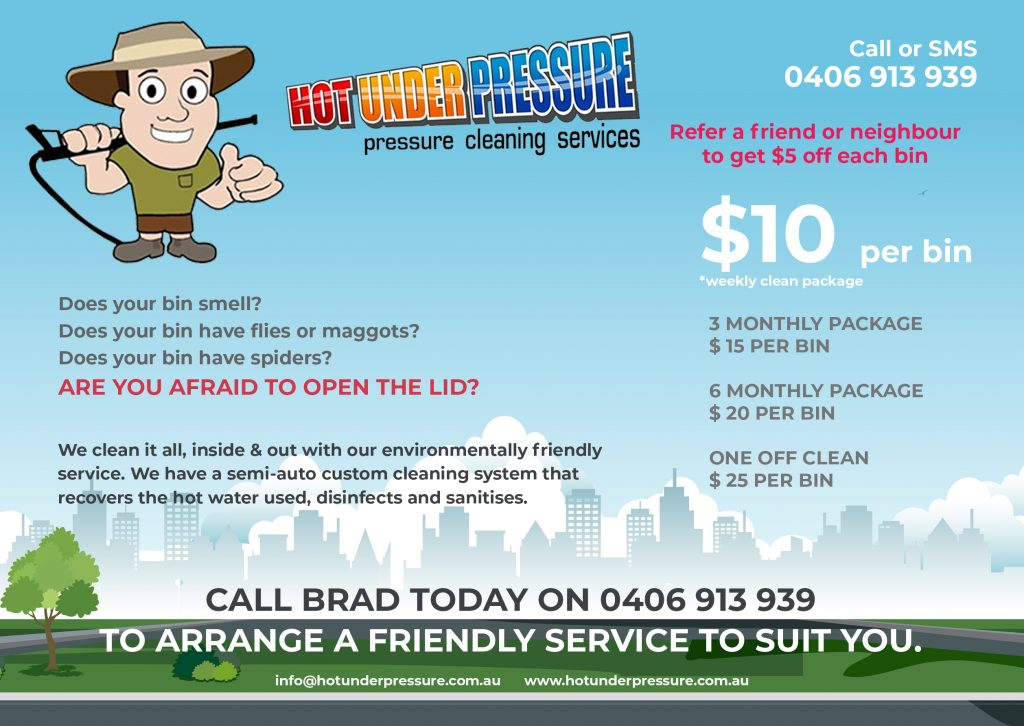 Hot Under Pressure - Bin Cleaning Maitland Hunter Valley Newcastle Back
